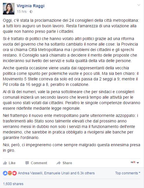 virginia raggi città metropolitana roma