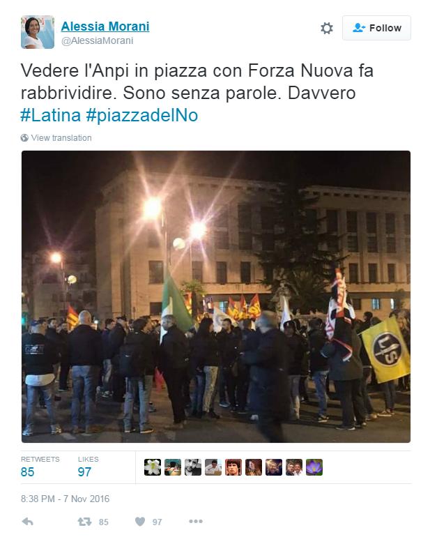 Referendum, Anpi Latina smentisce piazza condivisa con neofascisti: