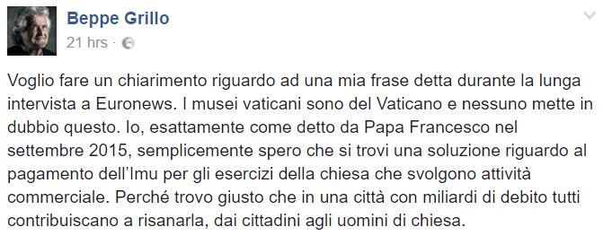 beppe grillo 400 milioni vaticano