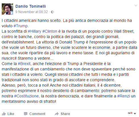 donald trump danilo toninelli
