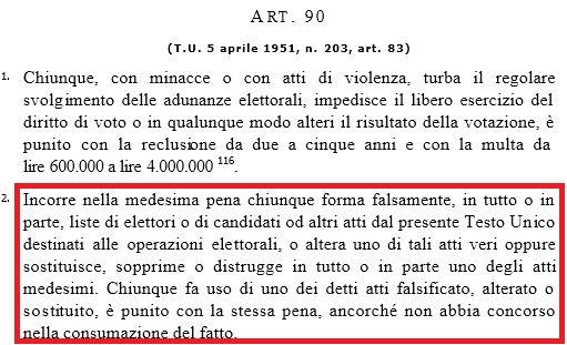 firme false articolo 90