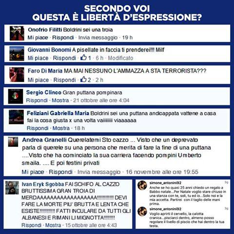 Boldrini posta insulti che riceve sui social: