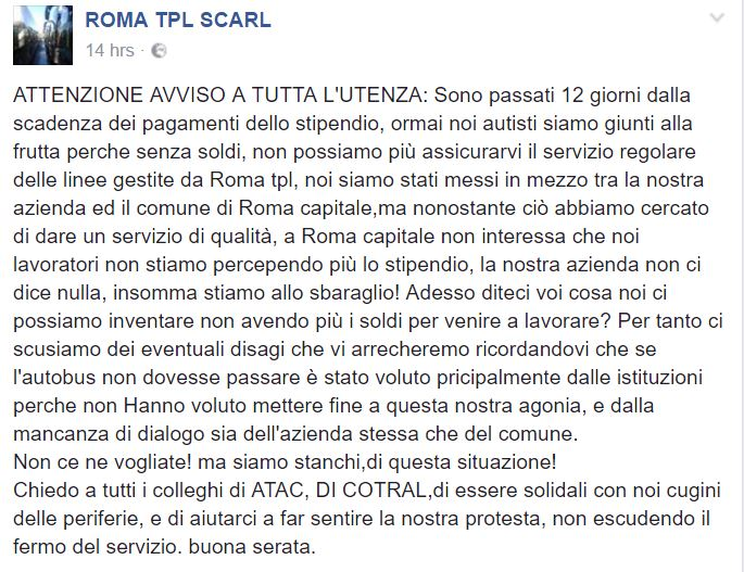 roma tpl lavoratori stipendio