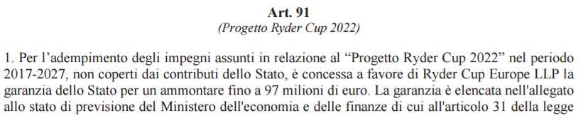 L'articolo 91 della legge di stabilità 2017 sulla Ryder Cup di golf