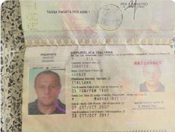 sergio zanotti siria passaporto