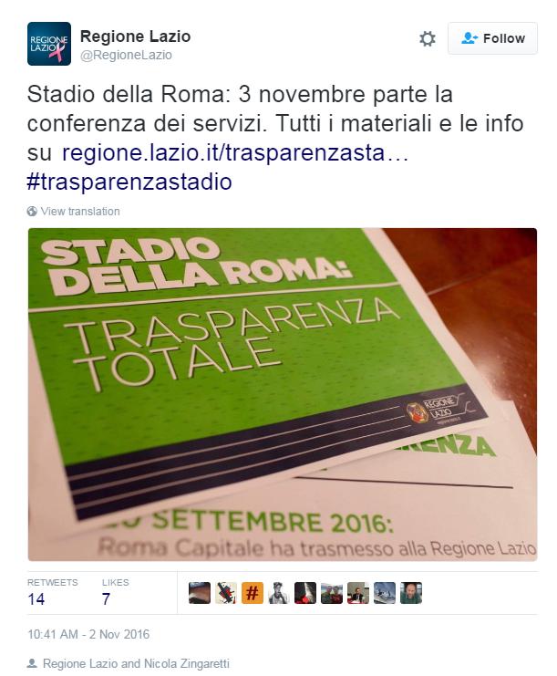 stadio della roma conferenza servizi