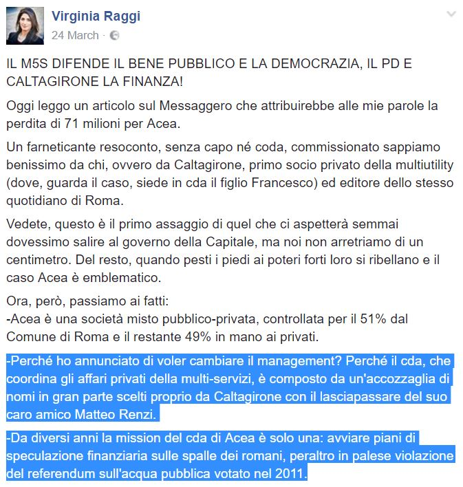 virginia raggi colomban acea