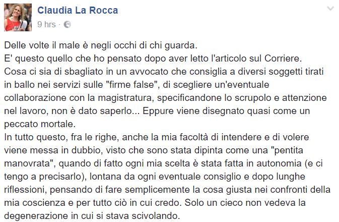 claudia la rocca firme false