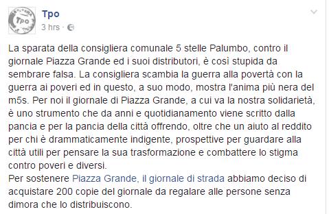 dora palumbo m5s bologna piazza grande accattonaggio