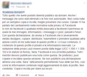 messaggio privacy facebook bufala