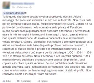 messaggio privacy facebook bufala