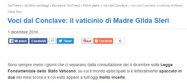 sondaggi clandestini conclave referendum vaticano
