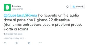 whatsapp 22 dicembre attentato centro commerciale porta di roma