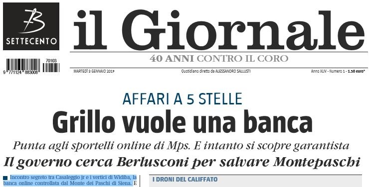 L'apertura del Giornale su Grillo, Casaleggio e Widiba