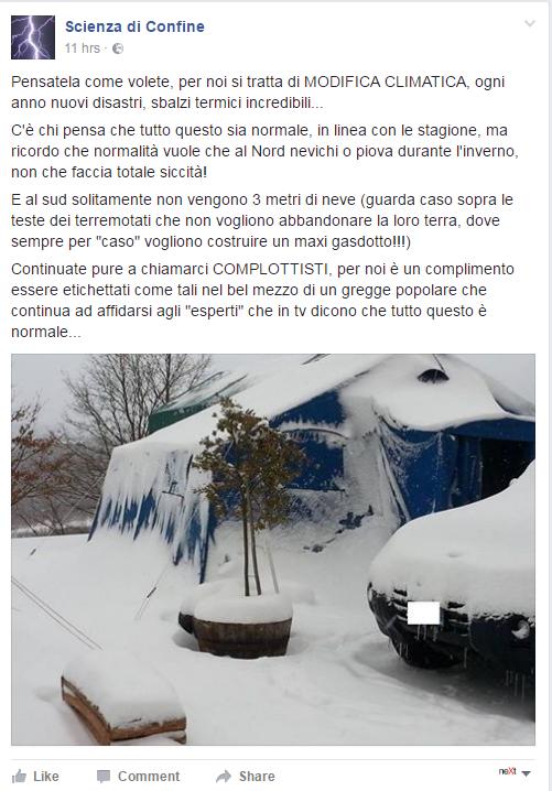 terremoto complotti neve