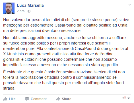 aggressione casa pound diego gianella alternativa onlus