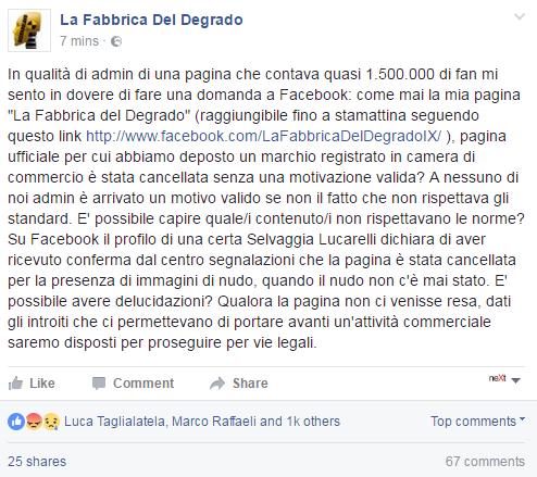 fabbrica del degrado lucarelli facebook rimossa - 2