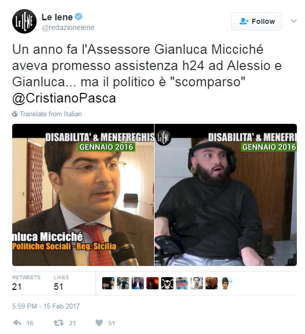 gianluca miccichè alessio gianluca iene disabilità - 4
