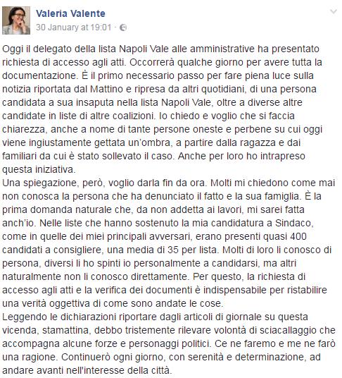 valeria valente napoli vale candidatura insaputa - 1