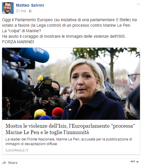 Matteo Salvini immunità Marine Le Pen