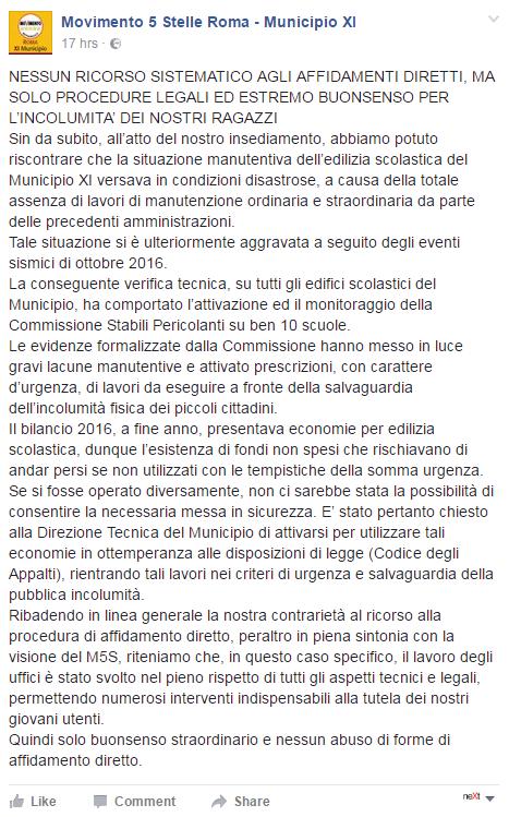 affidamenti diretti municipio XI bando gara m5s -1