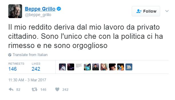 beppe grillo reddito guadagni politica - 1