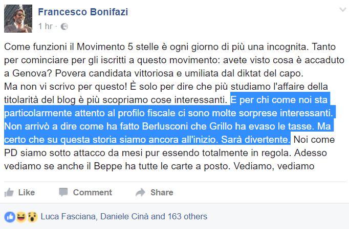 francesco bonifazi beppe grillo evasione