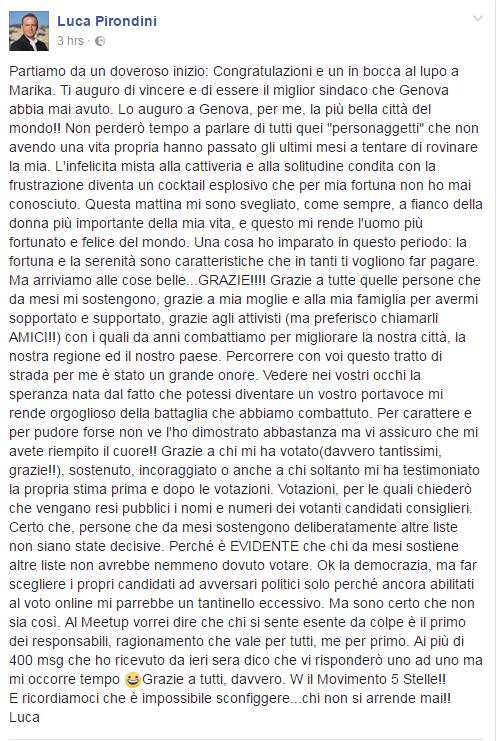 luca pirondini Marika Cassimatis m5s genova sindaco - 1