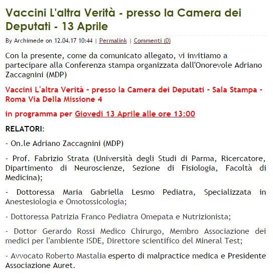 Camera: incontro anti-vaccini, bufera su deputato Mdp