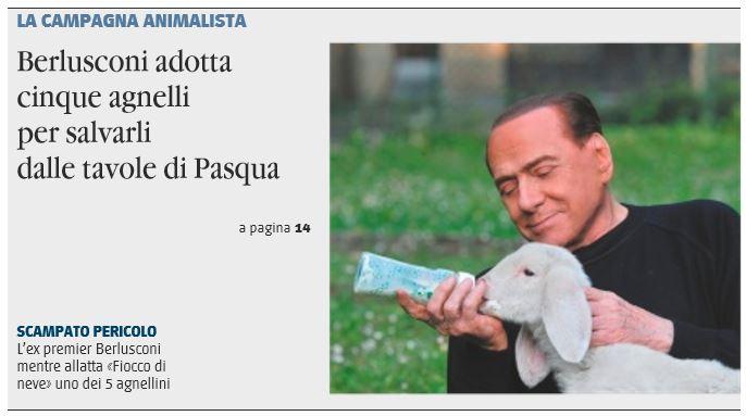 Berlusconi animalista, a Pasqua salva gli agnelli
