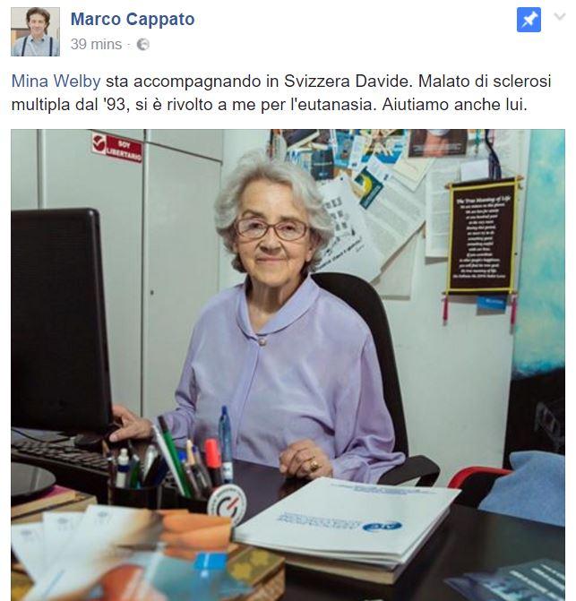Eutanasia: Davide è morto, annuncio di Mina Welby a Radio Radicale