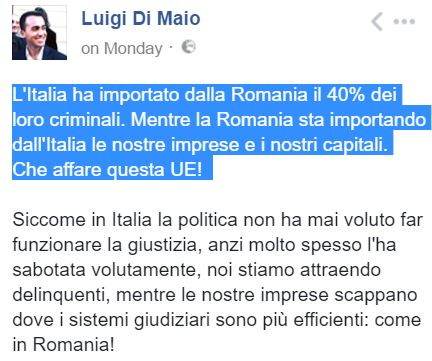 Di Maio contro i Romeni su Facebook: