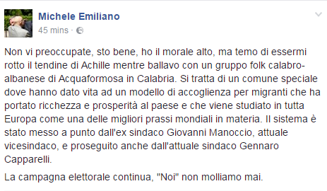 michele emiliano infortunio - 2