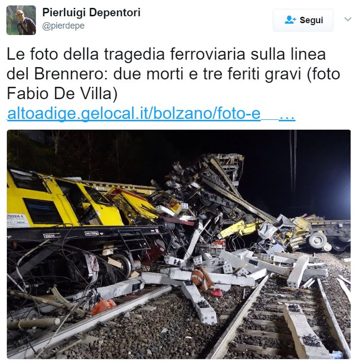 Due operai morti in un incidente sulla ferrovia del Brennero