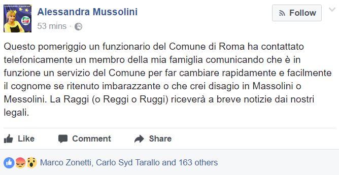 Comune di Roma: chiede ad Alessandra Mussolini di cambiare cognome