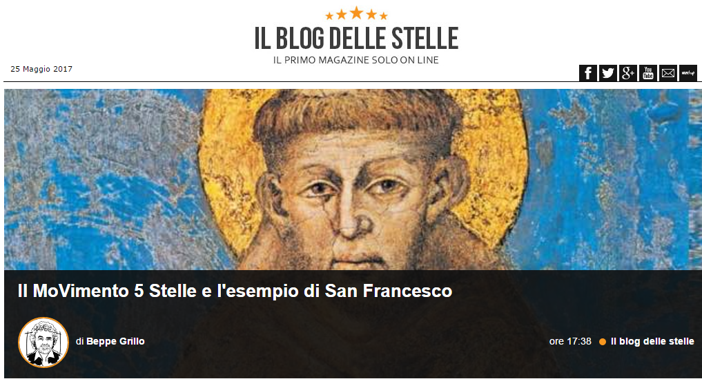 Grillo insiste: S. Francesco è il modello M5s