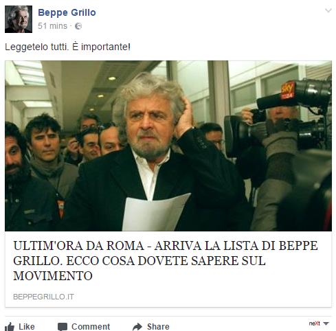 M5S, Grillo: ''Rifiuti? Colpa del Pd e di Mafia Capitale''