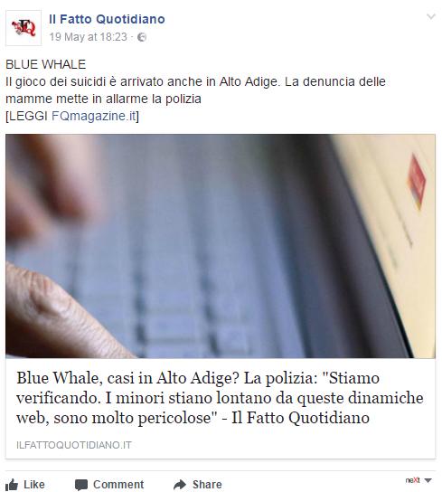 'Blue Whale': sette casi di autolesionismo in una scuola media