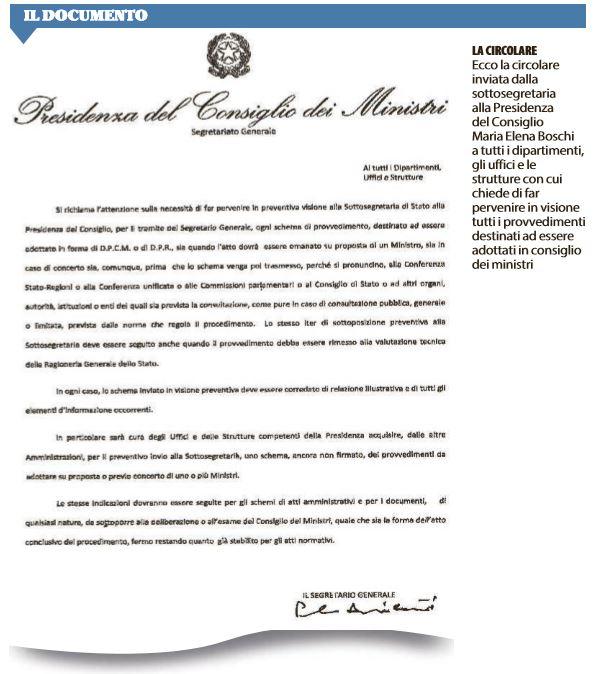 La circolare di Boschi che scuote Palazzo Chigi:
