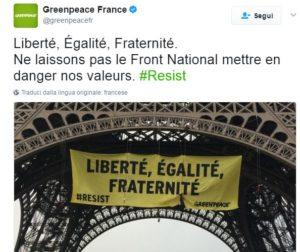 greenpeace torre eiffel marine le pen
