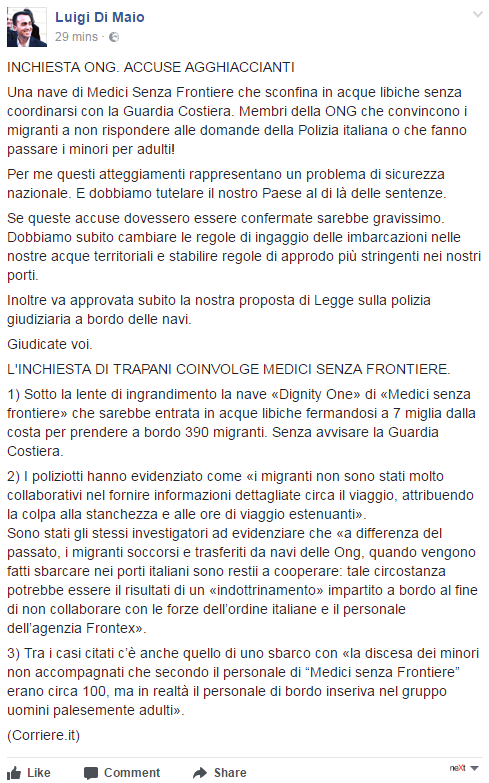 luigi di maio ong migranti medici senza frontiere - 1