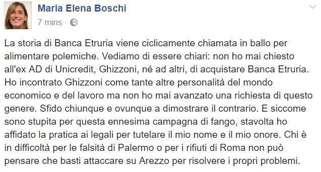 Banca Etruria: Boschi, mai chiesto a Ghizzoni di comprarla