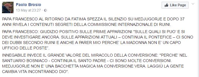 papa francesco medjugorje brosio socci celentano - 2