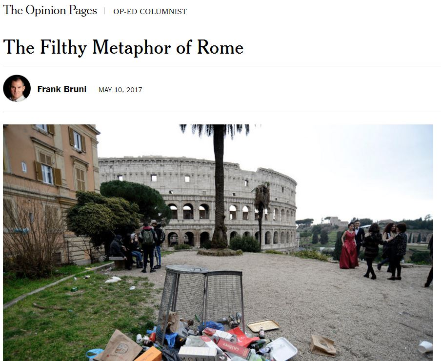 New York Times: 'Rifiuti quasi ovunque a Roma, promesse politiche fallite'