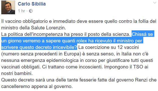 Vaccini: Lorenzin querela Sibilia, dichiarazioni gravissime e diffamatorie