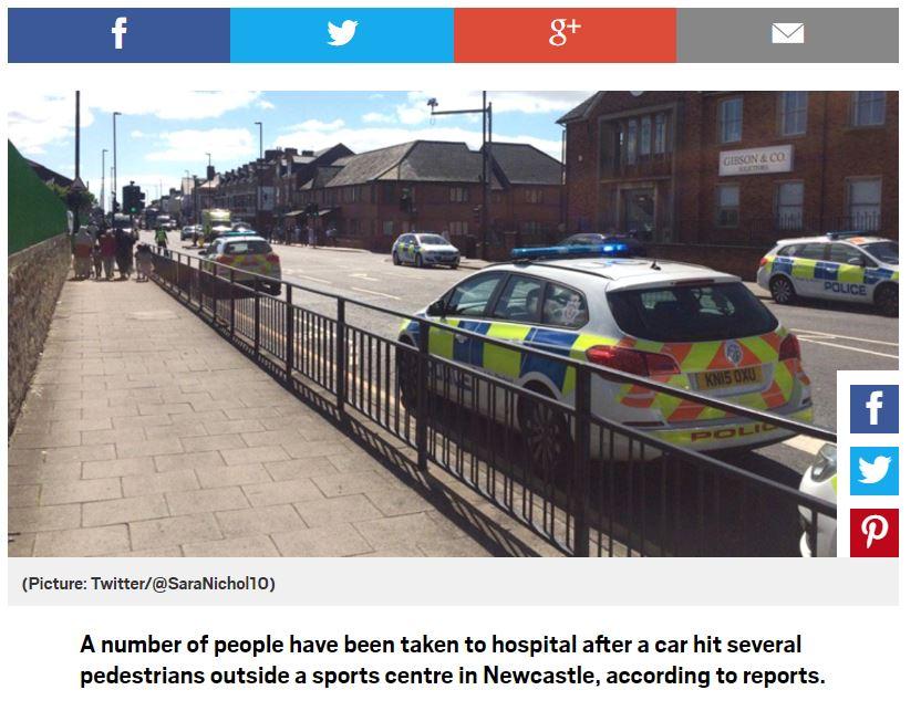 Newcastle, auto sulla folla vicino a una moschea.
