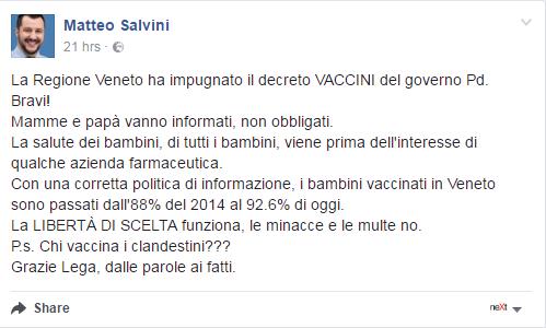 veneto zaia obbligo vaccinale decreto lorenzin vaccini obbligatori - 2