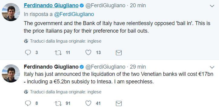 Avvenuta cessione banche venete a Intesa