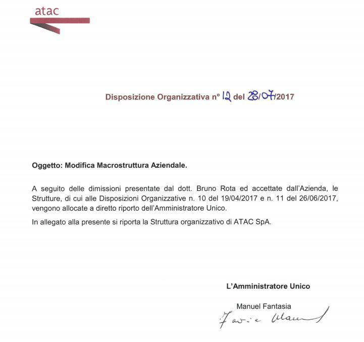atac, bruno rota: le deleghe ritirate dopo le dimissioni