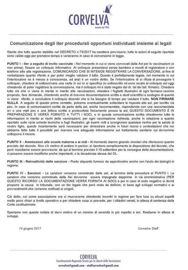 corvelva free vax decreto vaccini obbligatori - 1
